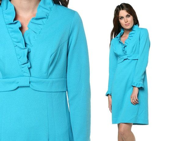 Ruffle Neck Dress 70s Babydoll Mini Turquoise Blue 60s 70s Mod Empire Waist Vintage Long Sleeve V Neck Polyester Dress Small Medium S M