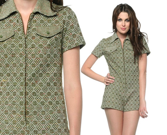60s Mod Romper Women Green Geometric Print 1960s Gogo Zip Up Chest Pocket Vintage Sixties Short Sleeve Onesie Playsuit Small Medium S M