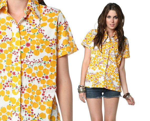 70s Apple Shirt Novelty Print Fruit Button Up Top 1970s Collared Floral Short Sleeve Vintage Yellow Red White Blouse Large L