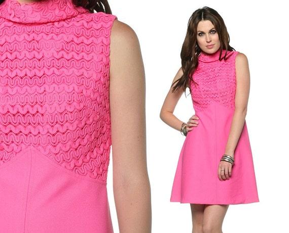60s 70s Crochet Babydoll Dress Hot Pink Mini Empire Waist 1970s Mod Hippie Vintage Sleeveless Turtle Neck Minidress Small Medium S M
