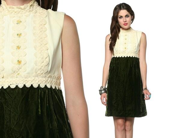 Velvet Mini Dress 60s Crochet Lace Babydoll Green 1960s Mod Cocktail Empire Waist Ivory Chiffon Sleeveless Victorian Party Dress Medium M