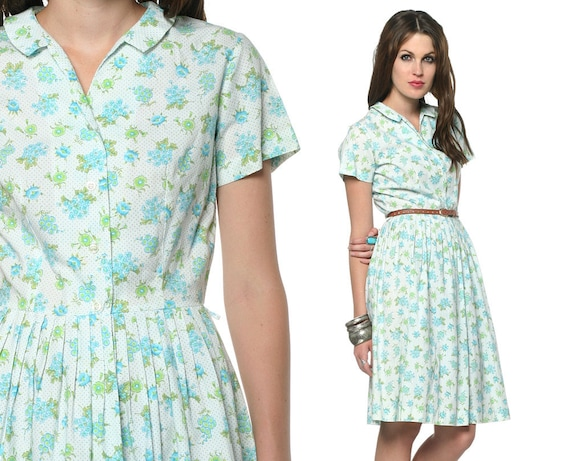 Floral Day Dress 60s Pleated Shirt White Green 1960s Cotton Indie Mad Men Button Up Short Sleeve Vintage Collar Mini ShirtDress Small S