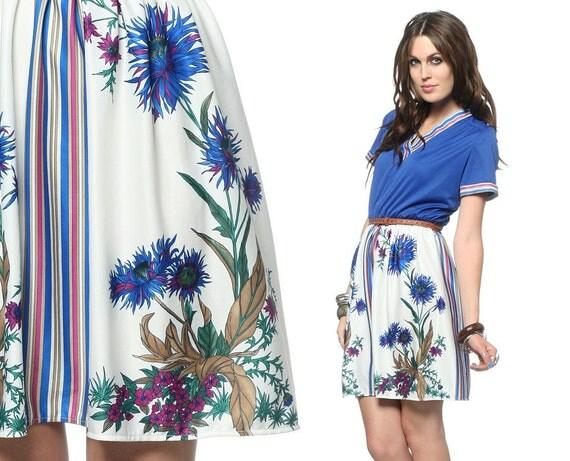 70s Blue Floral Dress Bohemian Mini V Neck 1970s Boho High Waisted Hipster Short Sleeve Hippie Retro White MiniDress Medium Large M L