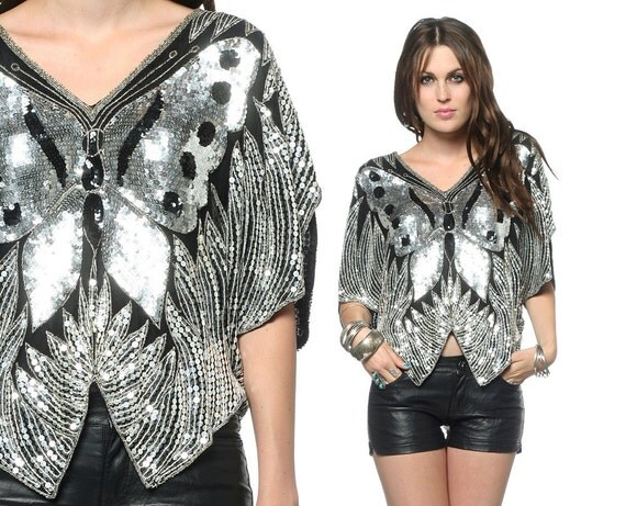 Butterfly Sequin Top Silver Metallic 70s Disco 80s Glam Sequined Beaded Trophy 1980s Black Silk Vintage Blouse Small Medium Large OS