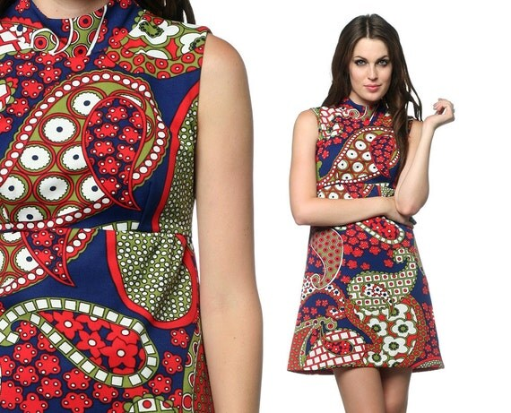 Hippie Paisley Dress 60s Mod Mini 70s Babydoll Red Navy Blue Green Print 1970s Empire Go Go Psychedelic Vintage Sleeveless Minidress Small S