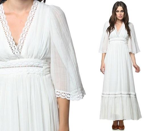 Hippie Maxi Dress 70s White Gauze Bohemian Wedding Lace Angel Sleeve 1970s Empire Tiered Deep V Angelic Festival Vintage Dress Medium M