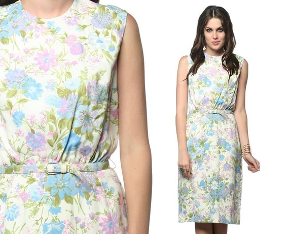 Floral Day Dress 60s Wiggle Sheath Garden Party 1960s Mad Men Pastel Belted Lavender White Blue Sleeveless Vintage Cocktail Small Medium S M