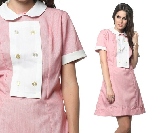 60s Waitress Dress Diner Uniform Pink White Mod Mini Bib 1960s