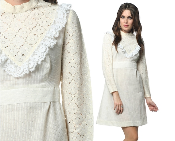 White Lace Dress 60s Mod Crochet Mini 70s Hippie Bohemian Wedding Cut Out 1970s Boho Babydoll Empire Waist Dress Medium Large M L