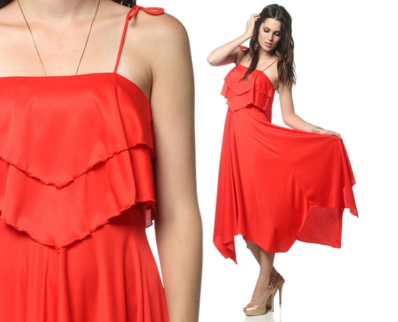 RESERVED Boho Maxi Dress 70s Red Hippie Tiered SCARF HEM 1970s Bohemian Sundress Handkerchief Spaghetti Strap Vintage Sun Dress Extra Small