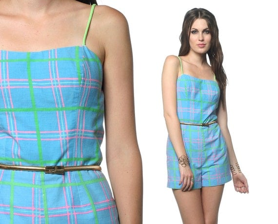 80s Romper Playsuit Romper 1980s Spaghetti Strap Summer Blue Green Pink Plaid Smocked Onesie Women Retro Pin Up Shorts Small S