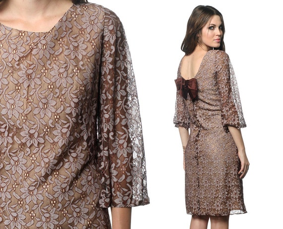 Lace Party Dress 1960s Cocktail Bow Brown Mini 60s Mad Men Mod Shift Formal Sheer Long Sleeve Romantic Formal Evening Prom Extra Large L XL