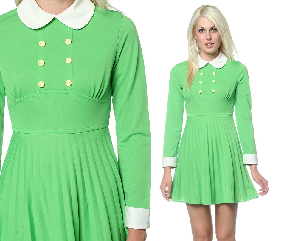 1960s peter pan collar dress double breasted pleated by shopexile