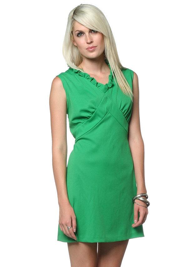 60s Plus Size Dress Mini Empire Waist Ruffle Green Mod A Xl