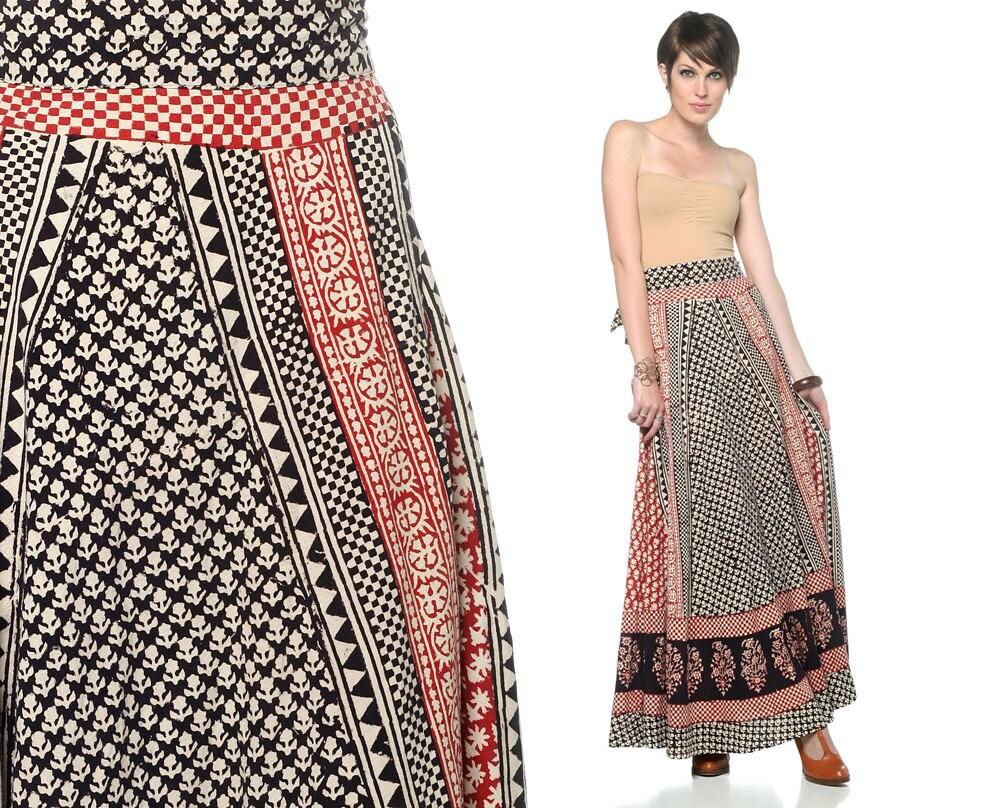 70s maxi skirt bohemian wrap cotton floral 1970s hippie boho