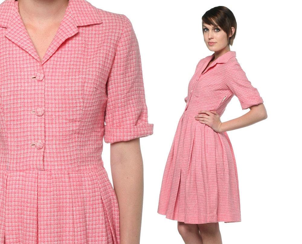Pink 50s Shirt Dress Checkered Knit Button Up 1950s Day 60s