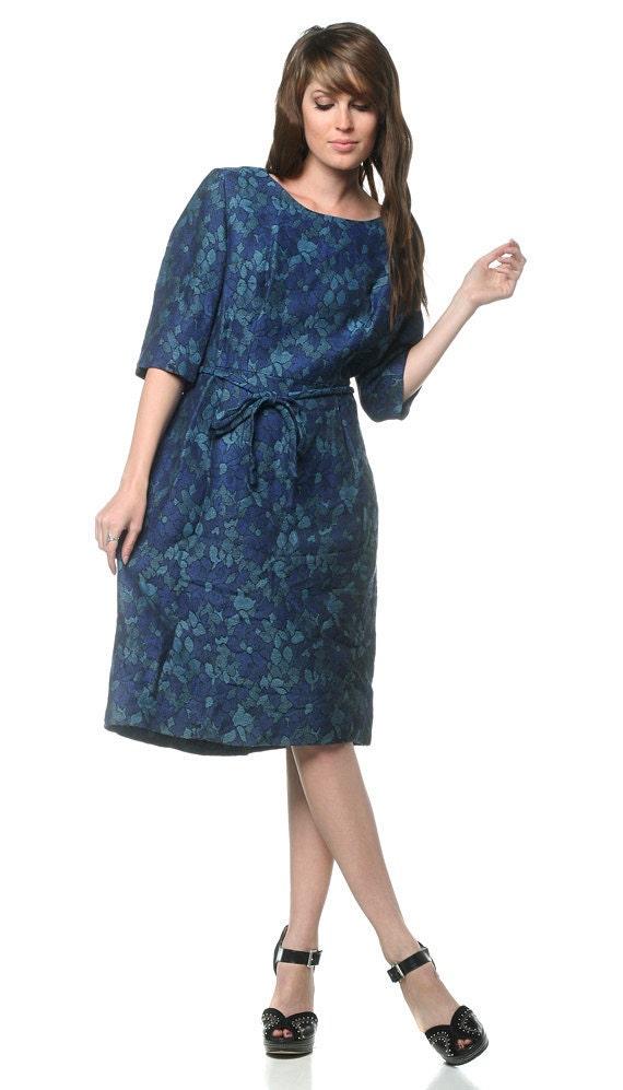 1960s Floral Dress Mad Men Wiggle Dark Blue Day 60s Vintage