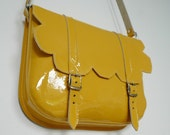 Yellow Patent Leather Scallop Satchel