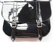 Navy Patent Leather Satchel
