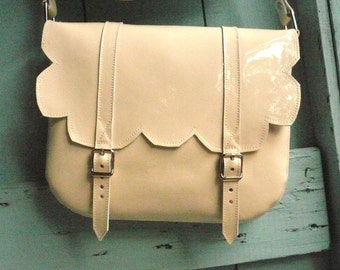 Cream Patent Leather Scallop Satchel