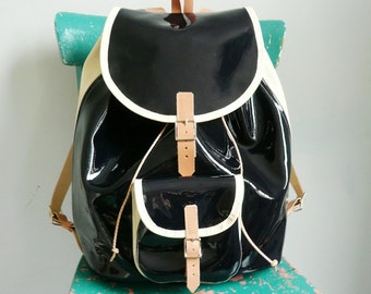 Navy Cream Patent Leather Backpack