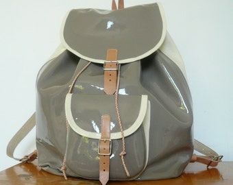 SALE! Gray Cream Patent Leather Backpack