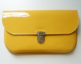 Yellow Patent Leather Clutch