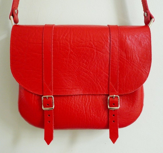 Red Leather Satchel FREE UK SHIPPING