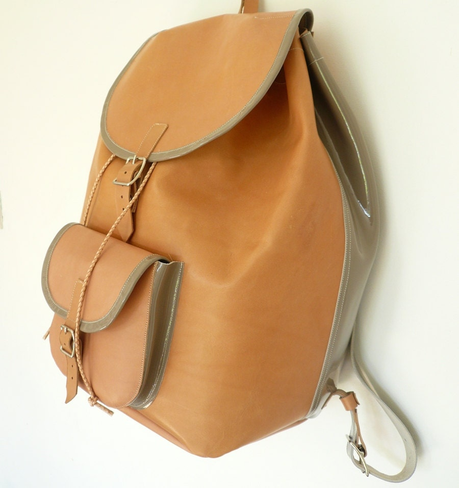 SALE Natural Veg-Tan Leather Backpack