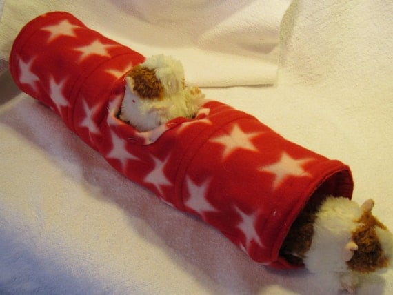 Handmade XL Fleece Tunnel for Guinea Pig, Small Animal