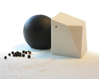 Fifty Percent Off Seconds - Salt and Pepper Shakers (Black and White)