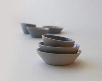 Gray and Light Blue Mini-Bowls