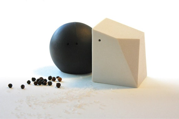 Sixty Percent Off Seconds - Salt and Pepper Shakers (Black and White)