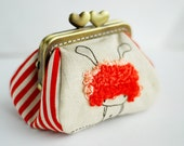 Embroidery Red Bunny Girl Purse