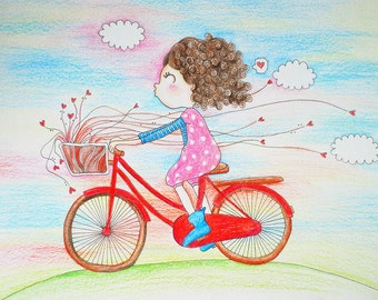 Cycling with Love Red Bicycle Illustration print
