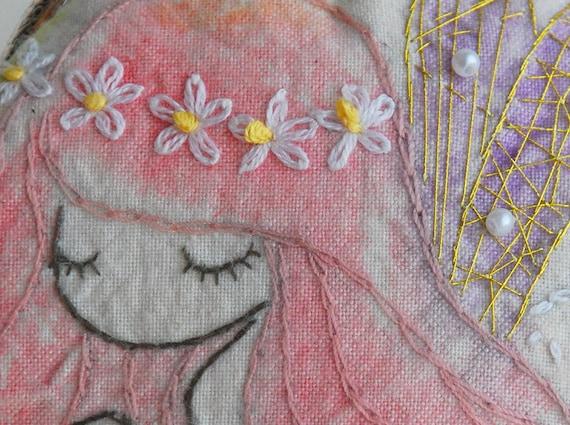 Vintage Embroidery fairy Purse (Metal Frame)