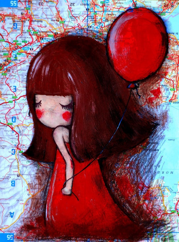 Girl with Red Balloon Original Illustration