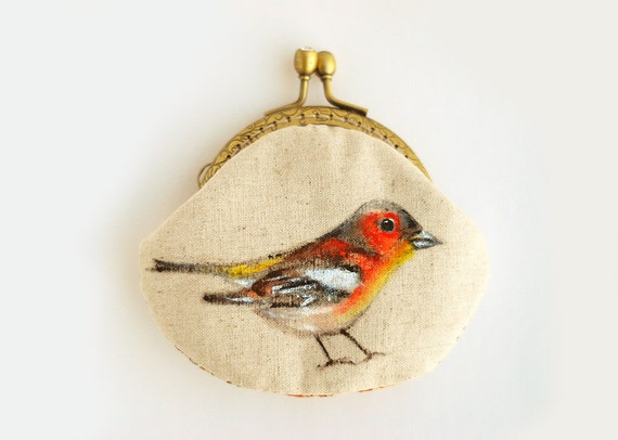 Chaffinch Hand painted Vintage Purse (Brids)