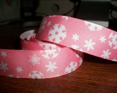 1 Yard of 7/8 inches wide Pale Pink and White Snowflakes Grosgrain Ribbon
