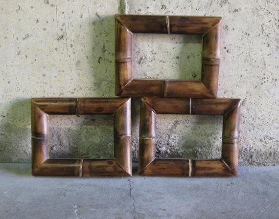 PHOTO FRAMES. 1960s. real bamboo. by SelectModern on Etsy