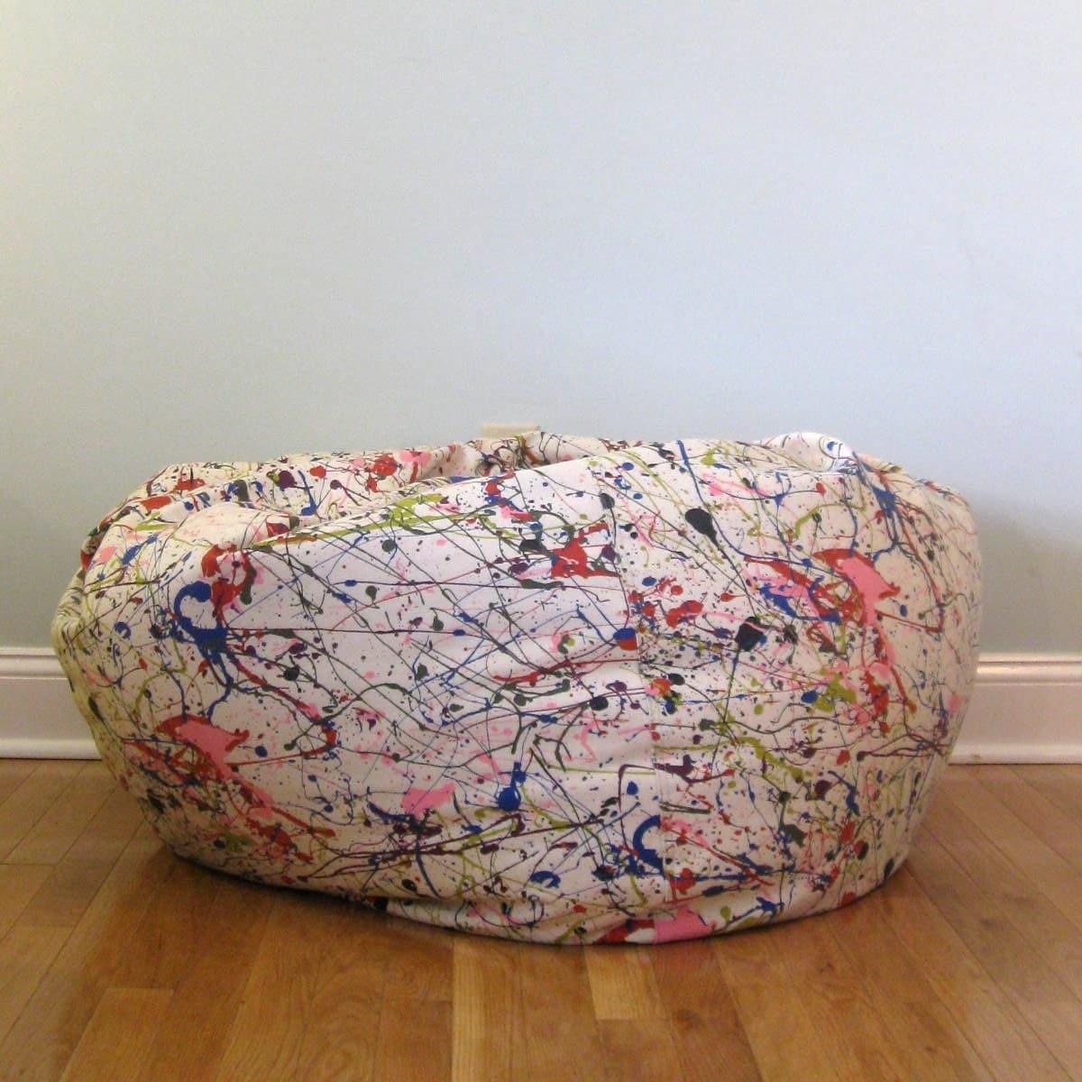 Free Shipping Circa 1980s Paint Splatter Print Bean Bag Chair