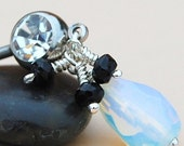 Belly Ring / Belly Jewelry/ Surgical Steel Barbbell/  Opalite and Black Spinel
