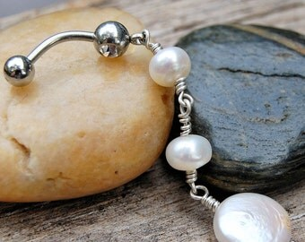 Belly Ring / Belly jewelry / Pretty in Pearls and Sterling