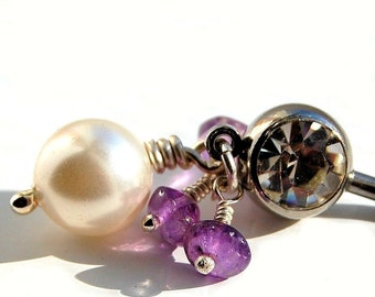 "Belly Ring / Belly Jewelry /  Swarovski Pearl and Amethyst  / ""Breathless"""