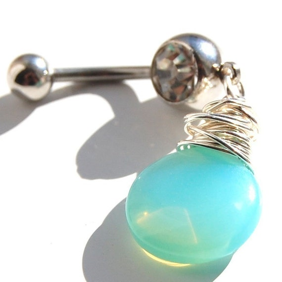 """LAST ONE - Belly Ring / Belly Jewelry / Sterling Silver and Opalite """"Carribbean Sea"""""""