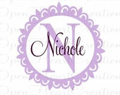 Personalized Vinyl Wall Decal - Monograms Baby Nursery Kids Teen Dorm - Custom Initial Name Wall Sticker 22 in Scallop Circle Frame FN0210