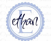 Kids Name Vinyl Wall Decal - Initial and Name Decal with Circle Scallop Frame Border for Boy Girl or Teen FN0210