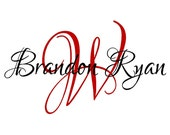 Monogram Wall Decal - Initial and Name Monogram Vinyl Decal - Wall Sticker IN0039