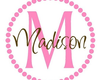 Polka Dot Name Wall Decal - Initial and Name Monogram - Fun Vinyl Sticker - Children Wall Decal FN0034