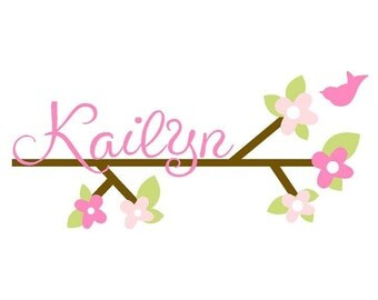 """Baby Nursery Tree Branch Wall Decal with Personalized Name Flowers and Bird 18""""H x 36""""W BR0007"""